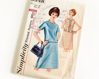 "Vintage 1960s Womens Size 10 Two Piece Dress Simplicity #5348 Sewing Pattern Complete bust 31 waist 24"" A-line Skirt Short or Sleeveless Top"