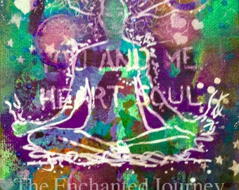 Yoga, seated pose, Namaste, You and Me, Heart and Soul, mixed media