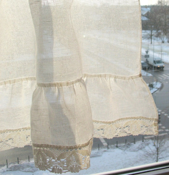 White Vintage Kitchen Curtains: Ruffled Curtains White Curtains Vintage Curtains Cafe Curtains