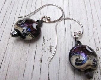 SHIMMERING PURPLE Lampwork Earrings, Murano Glass, Moon, Handcrafted Jewelry, Glass Drop Earrings, Boho Chic, Handmade Jewelry
