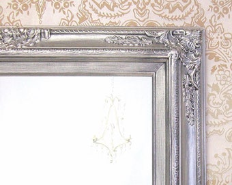 "MANY SIZES AVAILABLE Silver Framed Bathroom Mirror Framed Baroque Vanity Mirror Wall Mirror 31""x27"" Decorative Ornate Unique Mirror"