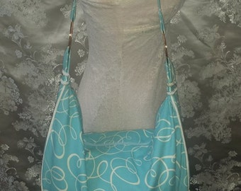 Corded Hobo Bag - Baby Blue with White Swirls