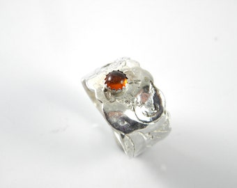 Sterling silver Carnelian statement ring, thumb ring, finger ring, one of a kind, fused sterling, boho ethnic, shabby chic, steampunk