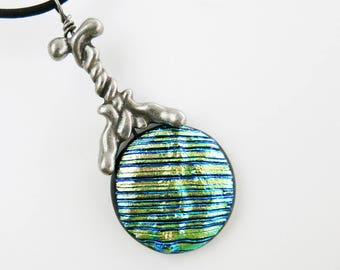 Kinesin Protein Fused Glass and Cast Pewter Pendant
