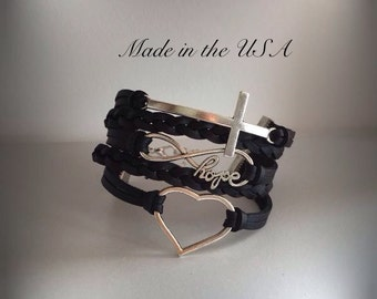 Faith Hope and Love bracelet Leather bracelet Charm bracelet Friendship bracelet Religious jewelry Confirmation gift Sideways cross