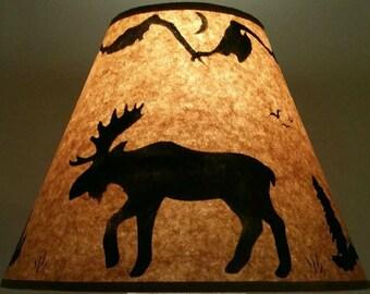 Rustic Moose Lamp Shade 12 Inch Bottom Diameter, 9 Inch Slant,  5 Inch Top Diameter Log Cabin Ski Lodge Log Furniture Alaska Decor