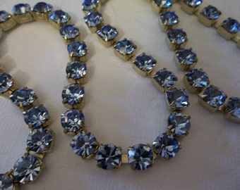 6mm Light Blue Rhinestone Chain - Brass Setting - Light Sapphire Czech Crystals - Large Crystal Size 29SS