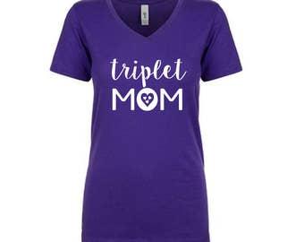 Triplet Mom Shirt - Moms of Multiples Women Tee short sleeve. Triplet Mom Top Vneck Heart design. Mommy Tulip+Vine. Mom of three. Butterfly