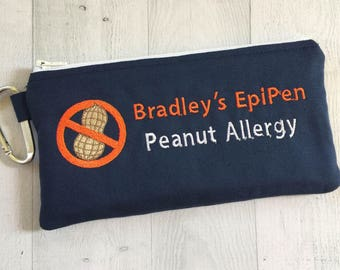 Medical Alert Pouch, Peanut Allergy, No Nuts, EpiPen Case, Inhaler, Custom Pouch, Emergency Kit, Epinephrine, Auto Injector, First Aid Kit