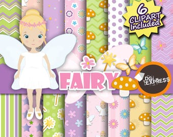 "Fairy Clipart + Digital Paper : ""Fairy Digital Paper"" - Fairies Clipart, Garden Fairy Party Invite, Magical Fairytale Commercial Use"