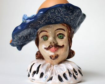 Gentleman in deep blue vintage hat hand sculpted ceramic Egg Cup, Pottery hand painted Egg Holder, ceramic figurine Candle Holder