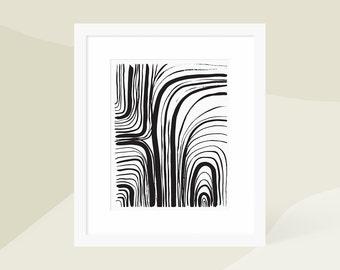 Minimalist Abstract Art Print Black / Minimalist Modern Painting / Large Vertical Wall Art / Framed and Matted / 5x7 8x10 11x14 16x20 18x24