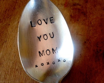 Hand Stamped Silver Teaspoon, Stamped Vintage Spoon, Mother's Day Gift, Vintage Silver Spoon, Engraved Spoon, Birthday Gift Idea, Silverware