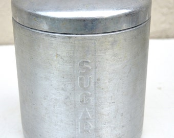 Vintage Spun Aluminum Kitchen Sugar Canister, Replacement, Made in Italy, Mid-Century