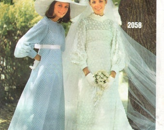 Vogue Bridal vintage sewing pattern - Empire waist wedding dresses - Size 12