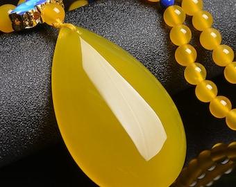 Water Drop Yellow Chalcedony Pendant
