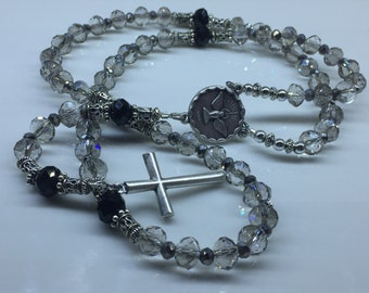 Grey and Silver Czech Glass Rosary