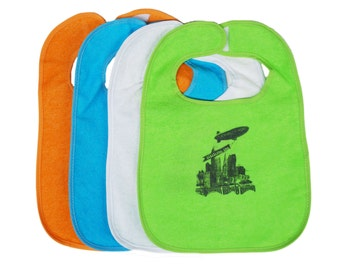 TerryCloth Bib with 'The World Is Yours' Cleveland Design (Orange, Teal, White, Lime Green, Mint Green)