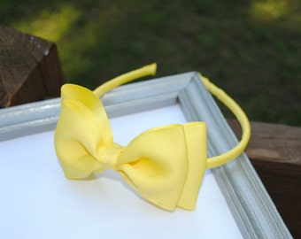 Yellow Headband Hair Bands for Girls Large Yellow Bow on Hard Headband Preppy Lemon Double Bow Hair Bands for Toddlers Girls Hair Accessory