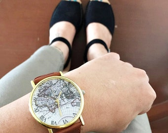 Gift for Her, Gift for Him, Watch, Map Watch, Vintage Style Leather Watch, Women Watches, Boyfriend Watch, World Map, Tan, Unisex Jewelry