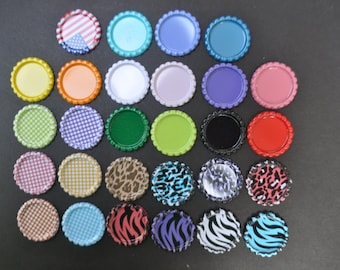 100 Flattened Bottle caps,You CHOOSE colors, 28 colors, NO Holes Bottlecaps, colored bottle caps, colored bottlecaps, flat bottle caps, flat