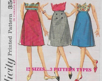 Vintage Pattern Sub-Teen Skirts,A Line,Below Knee,Formal Length-CUT-Simplicity 5583--Dated 1964 Sz 10S Waist 24