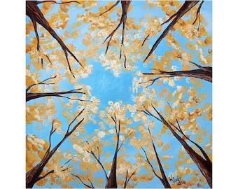 "Acrylic Treetop Painting on 16""x16"" Board"