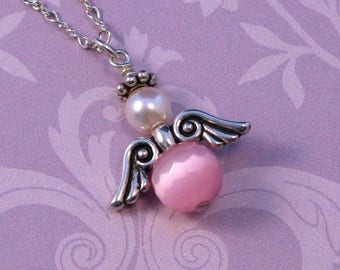 Pink Angel Pendant on Sterling Silver Chain, Faceted Pink Angel Pendant, Angel Jewelry, Gift for Her, Pink Angel Necklace
