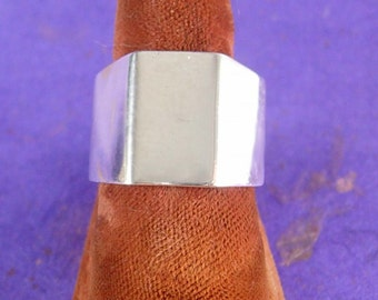 Men's Vintage Sterling Wedding Ring Industrial Nut design Wide Band Gents Marriage Jewelry size 6 3/4 ladies womens jewelry
