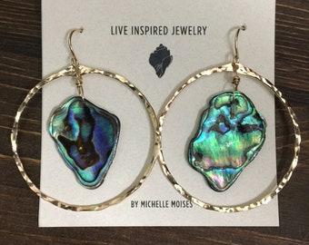 14k gold filled abalone hoop earrings