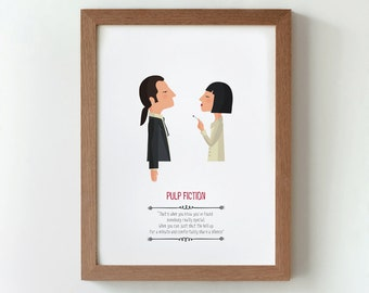 Illustration, print, Pulp Fiction, Quentin Tarantino, Tutticonfetti, Wall art, Hanging wall, Printed art, Decor home, Gift idea