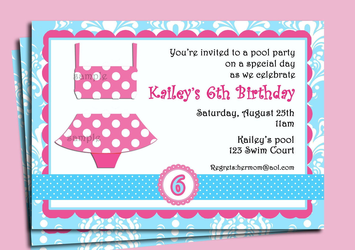 Girl\'s Pool Party Invitation Printable or Printed with