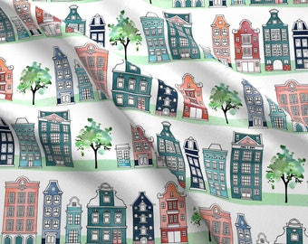 Whimsical Watercolor Cityscape Fabric - Amsterdam Neighbourhood By Adenaj - Cotton Fabric by the Yard with Spoonflower