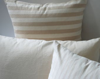 Oatmeal Collection // Decorative Throw Pillows 20x20 + 10 Other Sizes // Brown Stripe Pillow Covers // Pillows for the Couch