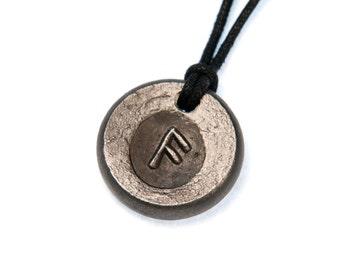 Rune pendant, hand forged futhark rune, ansuz, viking pendant
