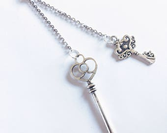 Handmade Antique Key Fold-Over Necklace 34"