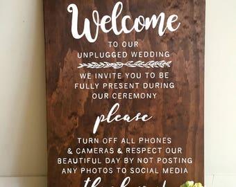 No Social Media | No Social Media Sign | Unplugged Wedding Sign |  Wedding Sign | Wooden Wedding Sign | Ceremony Sign
