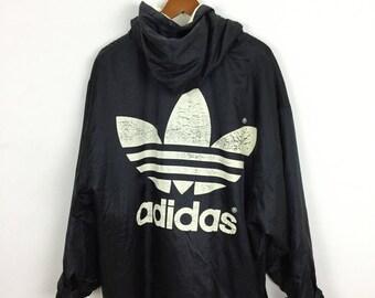 Vintage 90s Adidas Trench Coat Parka Jacket Inner Fleece Hip Hop Swag Winter Size M
