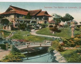 Japanese Tea Garden Coronado San Diego California 1910c postcard