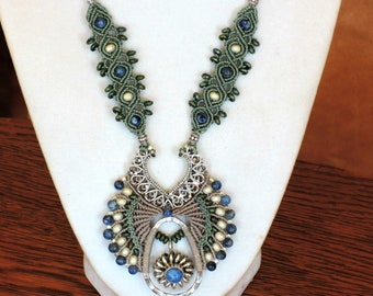 Denim Lapis Micro-macrame Necklace, blue, green, gray, feminine