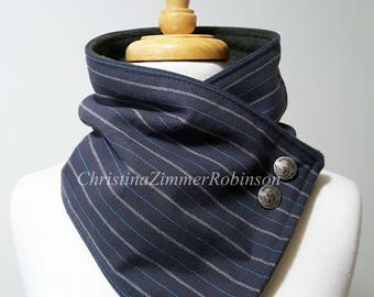 Blue-Gray Pinstripe Fleece Lined Neck Warmer Snap Scarf, Adorned with Buffalo Nickel Buttons, Scarves, Neck Wrap, Collar