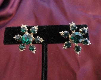 1950s Starburst Emerald Green Earrings