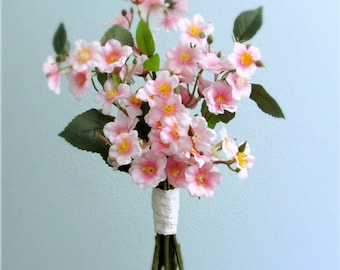 """Pink Cherry Blossom Bouquet, Silk Wedding Flowers, Spring Bridal or Bridesmaid Bouquet, Centerpiece, White Eyelet Lace, """"Harmony"""