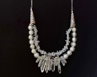 Silver and crystal statement necklace