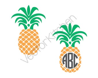 Pineapple Monogram Frame Design Cutting Template SVG EPS Silhouette Cricut Sure Cuts A Lot DIY Cricut Vector Instant Download, Hawaii, Aloha