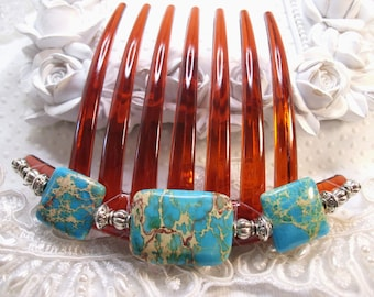 Turquoise Imperial Jasper with Silver plated bali beads French Twist Large hair comb Fascinator