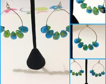 Blue dangling teardrop earrings