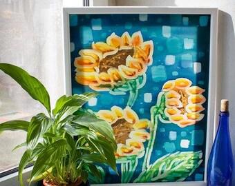 "Batik.Painting on fabric ""Sunflowers,"" Batik, ""Yellow flowers"", ""Three of a sunflower"" Картина на ткани ""Подсолнухи"", Батик,""Три подсолнуха"""