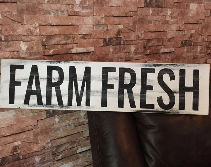 Farm Fresh Rustic Country Fixer Upper Style FarmHouse Wood Sign 30 inches long!