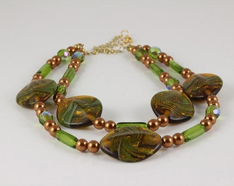 Green and Copper Lampwork Necklace, Lampwork Necklace, Green Necklace, Copper Necklace, Two Strand Necklace, Pearl Necklace